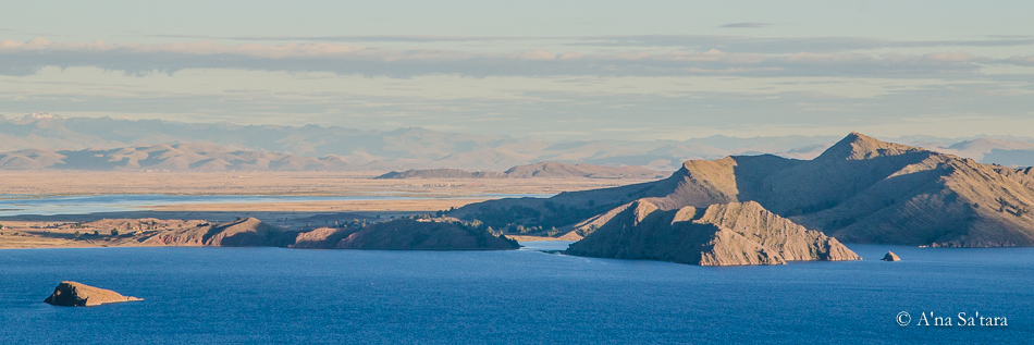 View from Temple of Pachatata Lake Titicaca ley line